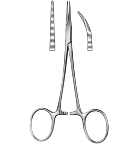 "Halstead Mosquito Curved Hemostatic Forceps: 5"", German"